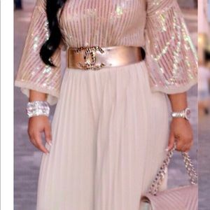 Ms Bling Palazzo Pants in Champagne